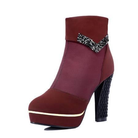 古奇天伦 秋冬韩版短筒女靴子英伦马丁靴及裸靴坡跟粗跟短靴防水台高跟时尚女鞋大码单靴