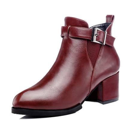 古奇天伦 秋冬时尚女鞋女短靴优雅马丁靴女高跟粗跟女靴皮带扣单靴