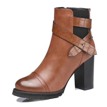古奇天伦 秋冬新款时尚女鞋英伦马丁靴短靴真皮单靴粗跟女靴子保短筒平底靴女鞋