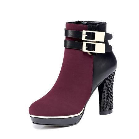 古奇天伦 秋冬时尚女鞋女拼色防水台短靴优雅马丁靴女高跟粗跟潮流女靴皮带扣单靴