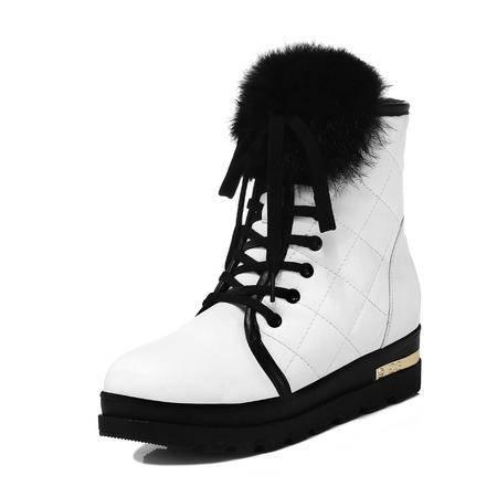 古奇天伦 秋冬新款时尚女鞋时百搭女靴甜美短靴平跟马丁靴骑士靴棉鞋兔绒毛大码单靴