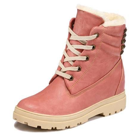 古奇天伦 新款时尚女靴瘦腿时装靴短绒毛中筒休闲靴英伦潮流骑士靴铆钉大码平底平跟保暖棉靴