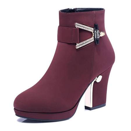 古奇天伦 秋冬新款时尚女鞋短筒女靴子英伦马丁靴水钻裸靴坡跟粗跟短靴高跟女鞋单靴保暖棉靴