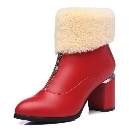 古奇天伦 春秋冬季新款时尚女鞋保暖棉靴短绒毛粗跟短靴短筒真皮羊毛马丁靴英伦高跟女靴及裸靴