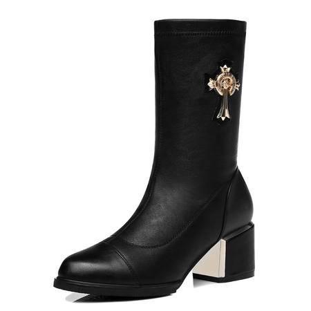 古奇天伦 秋冬季新款时尚女鞋粗跟中筒跟十字架金属时装女靴保暖棉靴子中筒靴休闲女鞋子大码单靴