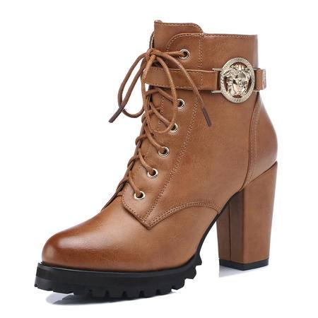 古奇天伦 新款时尚女鞋粗高跟短靴骑士靴超高跟防滑靴子日常休闲女鞋短筒搭扣女靴保暖棉靴子