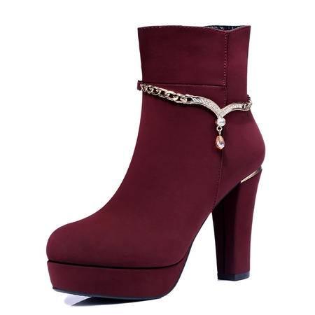古奇天伦 秋冬季新款时尚女鞋短靴欧美单靴英伦水钻马丁靴粗跟防水台厚底高跟女鞋子裸靴女靴
