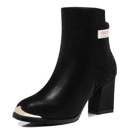 古奇天伦 秋冬新款时尚女鞋街头女靴真皮短绒毛英伦复古马丁靴短筒粗跟平底尖头短靴子