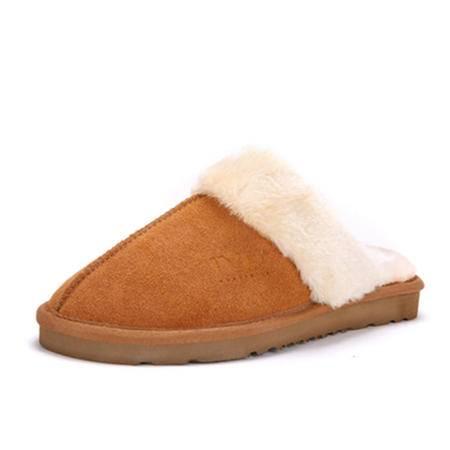 BALADY帕莱汀 冬季时尚女鞋保暖简约居家拖鞋牛皮长绒毛厚底家居卧室内防滑大码棉拖