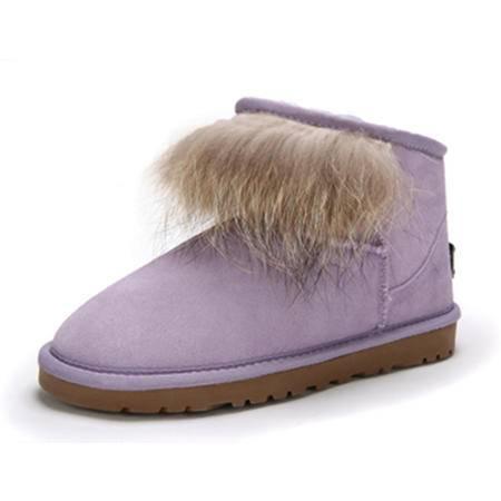 BALADY帕莱汀 新款时尚女鞋秋冬季保暖雪地靴狐狸毛女短统靴加厚短靴冬平底女鞋 毛毛靴子