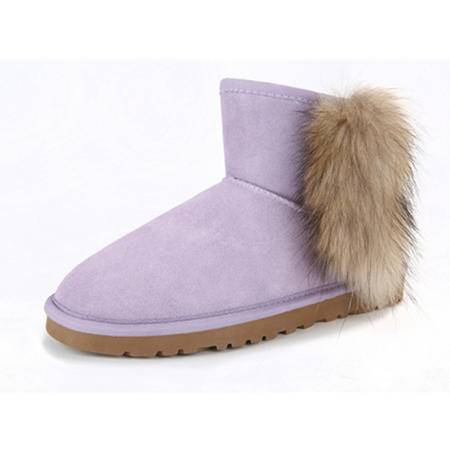 BALADY帕莱汀 新款时尚超大狐狸毛雪地靴 皮毛一体女靴子 超大毛口真皮短靴冬季保暖女鞋