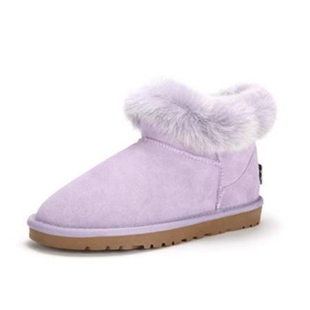 BALADY帕莱汀 冬季新款甜美时尚女鞋保暖磨砂皮安哥拉兔毛翻边短靴长绒毛雪地靴