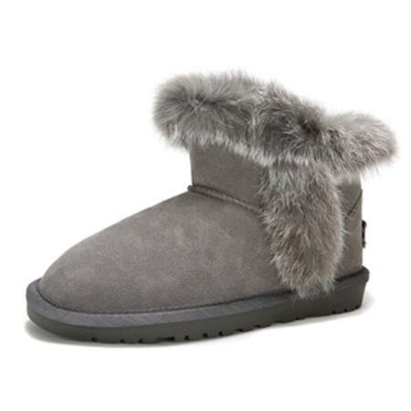 BALADY帕莱汀 冬季新款时尚女鞋真皮雪地靴皮毛一体套筒加厚保暖防滑牛皮短靴女鞋