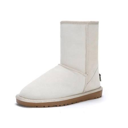 BALADY帕莱汀 秋冬季新款时尚女鞋牛皮中筒平跟防水保暖棉鞋加绒加厚真皮雪地靴