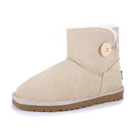 BALADY帕莱汀 新款秋冬季时尚女鞋毛一体雪地靴女短靴子真皮牛皮低筒大码冬季保暖防水女鞋