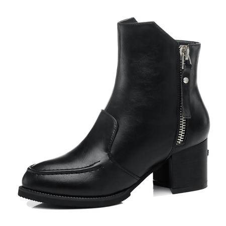 古奇天伦 秋冬季新款时尚女鞋真皮短筒骑士靴方跟尖头短靴防水台粗跟高跟靴女靴