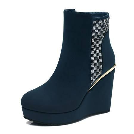 古奇天伦 秋冬新款时尚女鞋中筒靴真皮女靴子平底坡跟圆头时尚毛靴高跟水钻防水台棉靴