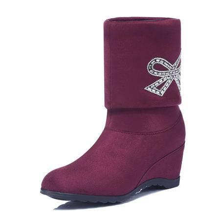 古奇天伦 欧美新款时尚女鞋秋冬马丁靴潮女短靴粗跟坡跟高跟防水台内增高高筒防滑加绒保暖女靴