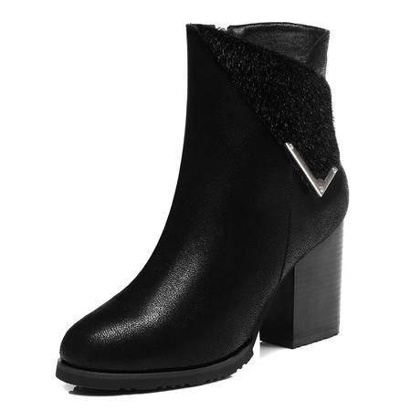 古奇天伦 秋冬时尚女鞋短靴子黑色女靴短绒毛马丁靴女英伦粗跟侧拉链中跟单靴短筒靴