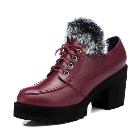 古奇天伦 春秋冬新款时尚女鞋兔毛短靴及裸靴中跟英伦短筒女靴子马丁靴粗跟单靴内里棉质棉靴