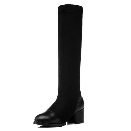 古奇天伦 新款时尚女鞋短绒毛女靴女粗跟骑士靴女版长靴弹力靴欧美高跟高筒靴子