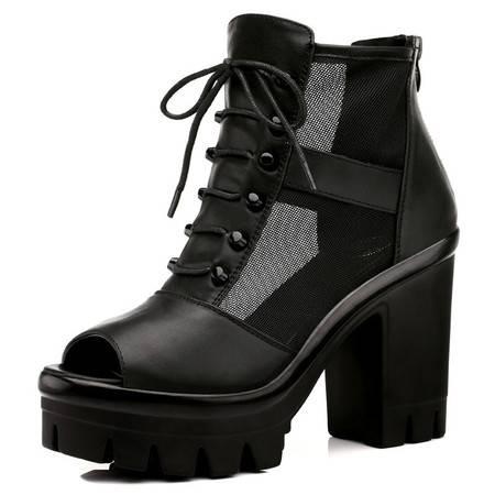 新款时尚女鞋粗跟软底系带透气休闲单鞋