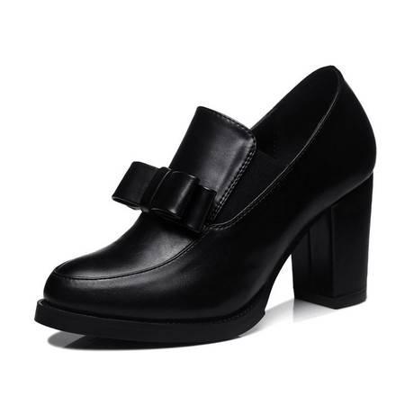 新款时尚蝴蝶结单鞋女中低跟女鞋