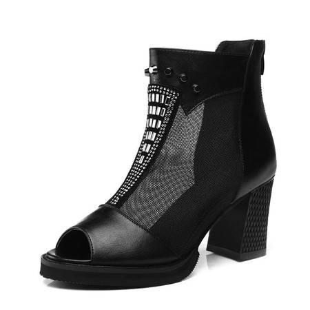 新款粗跟深口时尚女鞋 网纱铆钉英伦鱼嘴单鞋潮女高跟鞋