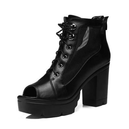 新款时尚女鞋女式高跟鞋粗跟防水台女鞋马丁靴短靴子鱼嘴单潮