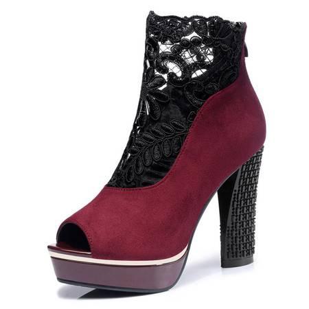 新款时尚女鞋蕾丝网纱透气防水台高跟鞋鱼嘴头粗跟女单鞋子