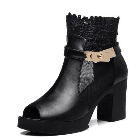 新款时尚女鞋深口单鞋 透气网纱粗跟女鞋 防水台高跟鞋