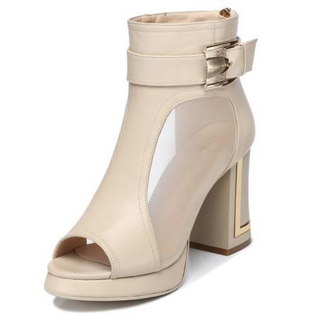 鱼嘴高跟鞋女式单鞋子粗跟新款网纱金属欧美防水台浅口