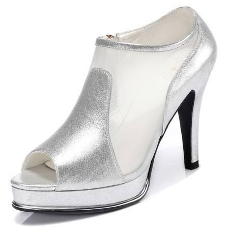 新款鱼嘴鞋细跟罗马高跟鞋防水台网纱单鞋潮时尚女鞋子