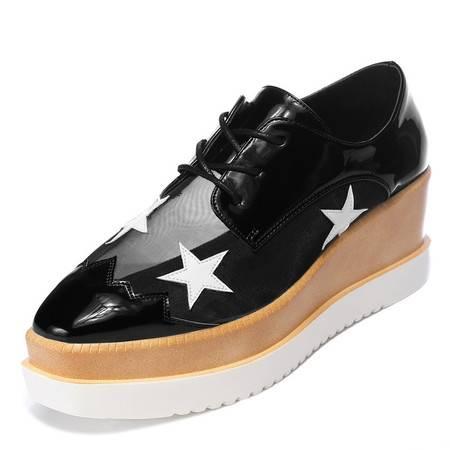 时尚女鞋星星鞋复古厚底松糕鞋休闲鞋坡跟网纱女单鞋