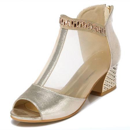 时尚女鞋新款网纱性感高跟鞋凉鞋女露趾高跟