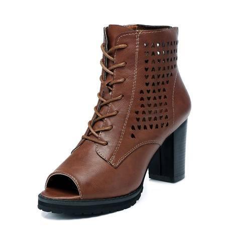 古奇天伦 2015春夏季新款是女鞋真皮粗跟鱼嘴鞋 防水台高跟凉鞋 镂空女单鞋