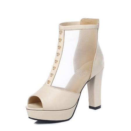 古奇天伦 2015春季新款时尚女鞋高跟鞋粗跟后拉链防水台鱼嘴厚底单鞋女