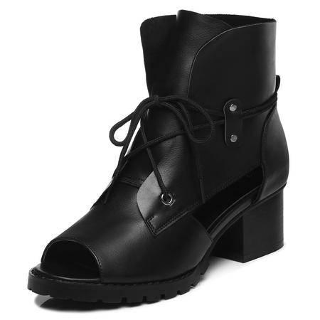古奇天伦 2015年新款时尚女鞋夏季浅口单鞋凉鞋女鱼嘴高跟鞋子粗跟防水台纯色