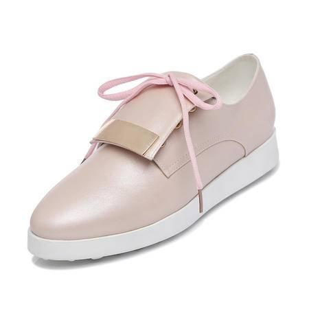 古奇天伦 春夏休闲鞋厚底单鞋大码运动鞋时尚女鞋透气跑鞋运动风甜美板鞋