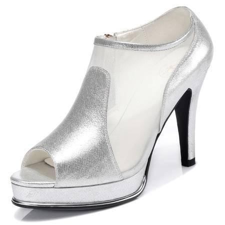古奇天伦 2015春夏季新款鱼嘴鞋细跟罗马高跟鞋防水台网纱单鞋潮时尚女鞋子