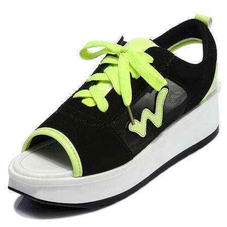 2015夏季新潮鱼嘴女鞋坡跟橡胶大底系带时尚女鞋