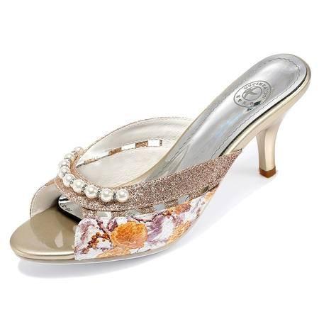 2015春夏新款真皮细跟鱼嘴凉鞋女鞋女士休闲舒适甜美水钻女凉鞋