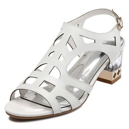 2015夏季新款时尚个性水晶粗跟女鞋进口橡胶大底真皮女鞋子