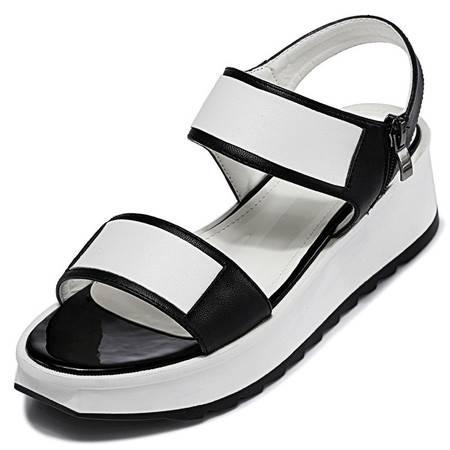 2015夏季新款波西米亚真皮露趾平底罗马凉鞋女坡跟小码潮