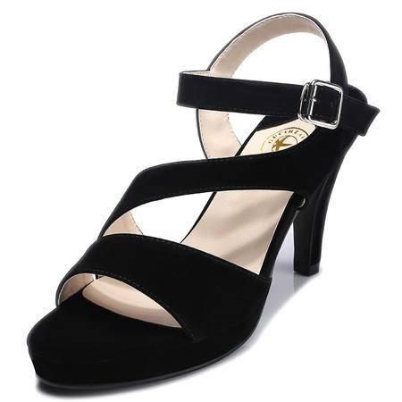 2015夏季新款韩版高跟鞋简洁百搭侧扣带甜美中跟凉鞋时髦女鞋