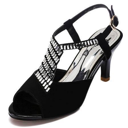 2015夏季新款性感水钻中高跟细跟亮钻细鱼嘴防水台女式凉鞋单鞋