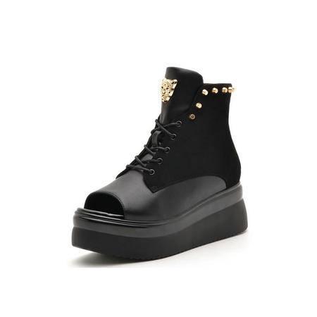 2015夏季新款牛皮系带女鞋坡跟厚底欧美凉靴真皮铆钉镂空女凉鞋