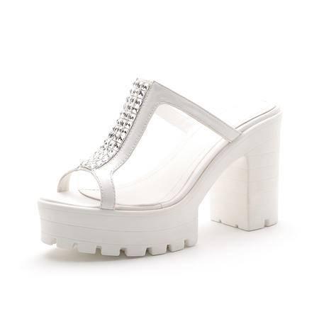 2015夏季新款韩版真皮粗跟女凉拖鞋高跟水钻女拖鞋女凉鞋女鞋拖鞋
