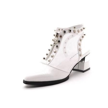 2015新品女鞋春款高跟鞋粗跟单鞋夏季新款鱼嘴网纱防水台女鞋