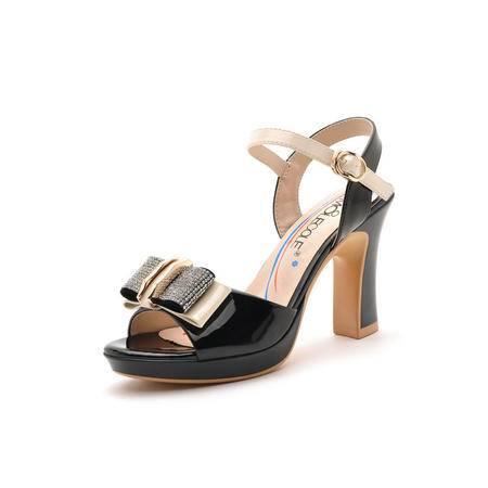 2015水钻凉鞋夏季新款时尚高跟粗跟真皮水钻盘扣防水台凉鞋女夏天